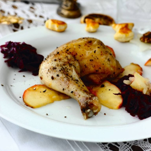 Weihnachtsmenü   Bauernente mit Apfelblaukraut und Sellerie